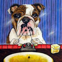 bulldog flossing bathroom dog art tile coaster gift gifts coasters