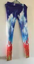 NEW!  Reverse Stretch Colourful Legging with Flowers Tulips Ladies Size Small
