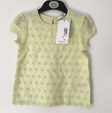 M&S Girls Lemon Broderie T-shirt/Top Age 2-3 Pure Cotton BNWT
