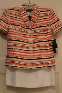 Kasper Women's 2 piece Skirt Suit Coral Multi and Ivory Size 8P