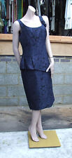 Rickie Freeman for Teri Jon BNWOT 14 Exquisite Laser Cut Navy Blue Evening Dress
