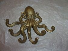 Octopus Wall Hook Key Holder Towel Hanger Coastal Nautical Sea Life Cast Metal
