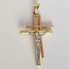 14k rose white yellow Gold Jesus Crucifix 2 Cross Pendant Charm 1.70 inch long