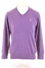 CREW CLOTHING Womens V-Neck Jumper Sweater Large Purple Cotton  NC16