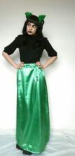 Bright green maxi long trail train gothic satin skirt stretchy gorgeous