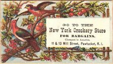 Victorian Trade Card: New York Crockery Store in Pawtucket, RI: Birds & Berries