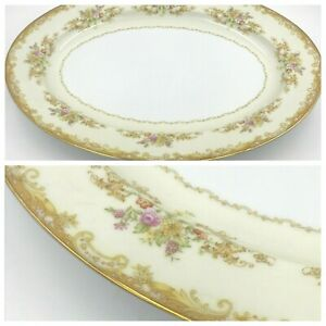"Noritake M China Olivia 16"" Oval Serving Platter Tan Scrolls Gold Rim Floral DH"