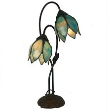 GENTIANA 2GL TEAL TIFFANY STYLE TABLE LAMP LEAD LIGHT -WILL SHIP AUSTRALIA WIDE