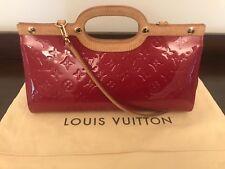 Authentic Louis Vuitton Monogram Red Vernis Roxbury Drive 2 way Handbag