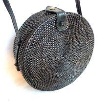 Rattan Tasche Umhängetasche Rattan Bag rund Maße 21x7 cm handgefertigt schwarz