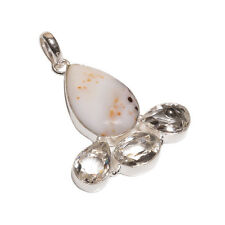 925 Sterling Silver Overlay Agate Crystal Stone Girls Women's Pendant Chain