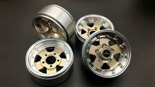 "RC Channel 1.9"" +5mm offset Beadlock Aluminum wheel set. Gold color"