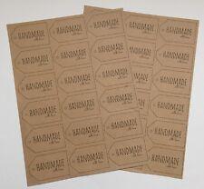 """36 """"Handmade With Love"""" adesivi-carta Kraft-bagagli Tag LABELS-ETICHETTE REGALO 6.5CM"""