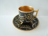 Antique Cup Saucer Black Gold Branches White Jewels Gilded Bowl Gold Paw Feet #1