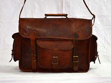 Real genuine vintage leather messenger brown camera lens satchel bag briefcase