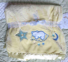NoJo Polyester Yellow Plush & Satin w White Bear Blue Moon Stars Baby Blanket EC