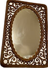 Vintage Brown Faux Wicker Oval Mirror 1970's Ornate Plate Glass Decor MCM