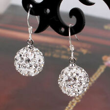 Shamballa Earrings Ball 10 mm Silver Plated Rhinestones Jewelry Fashion