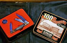 "Schrade 34OT Jack Knife ""100th Ann"" Old Timer W/Orig. Presentation Tin & Hat Pin"