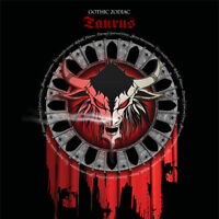 Taurus Gothic Zodiac Birthday Card for him/her or any occasion red & black