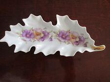"""Leaf Dish Mitterteich Bavaria Germany 9 1/4"""" Excellent White w/ Flowers"""