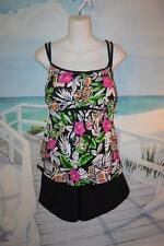 24W BABYDOLL TANKINI SWIM SHORTS BATHING SUIT FUN PINK TROPICAL A SHORE FIT 24
