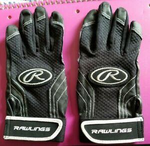 RAWLINGS Black Adult Size S/M Baseball Batting Gloves BBBH94