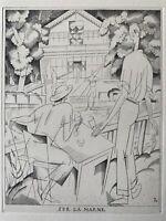 Laboureur gravure eau forte etching Sur La Marne