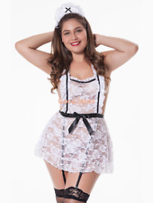 Plus Lady Sexy White French Maid Lace Sheer Lingerie Dress Babydoll Garter M-4XL