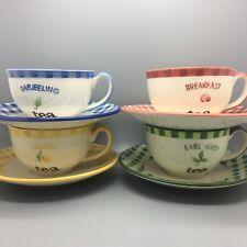 4 Piece Breakfast Set Vintage Darjeeling Breakfast Lemon Earl Grey, cups saucers