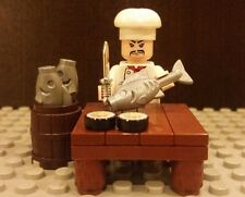 Lego NEW Sushi Chef Minifig w/Table Fish Chrome Kitchen Knife & MORE!!!