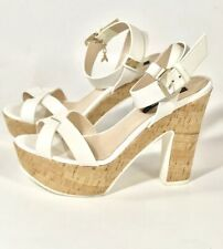 PATRIZIA PEPE White Leather Platform Sandals Shoes Heels $340.00 US 8.5, EU 39