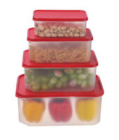 Food Storage Plastic Containers Reusable with Lids 4 Piece Set,rectangul BPAFree
