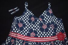 Girls Gymboree Candy Apple Dress Size 9 Navy Blue Red Hair Bows Floral Vintage