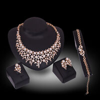 Fashion Women Crystal Pearl Gold Plated Pendant Necklace Wedding Jewelry Set