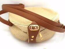 New Round Handbag Women Shoulder Purse Straw Light Beige Cord