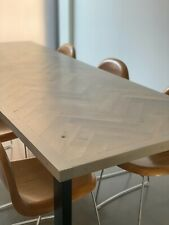 Large Parquet Dining Table - Solid Oak, Herrinbone Style. Bespoke Designs.
