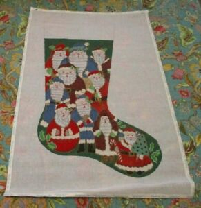 HAND PAINTED NEEDLEPOINT CANVAS BY ALEXA - 10 SANTAS ON A STOCKING - - PARTIALLY