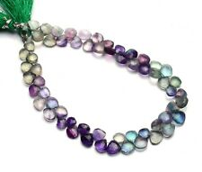 """Natural Gemstone Rainbow Fluorite 6MM Size Faceted Heart Briolettes Beads 9"""""""