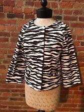 AK Anne Klein Jacket Zebra Print Brown White Crop Jacket Cotton 4 Hidden buttons