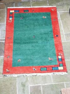 Wool Dense Pile Gabbeh Rug with Naive Art Design (Free collection or will send)