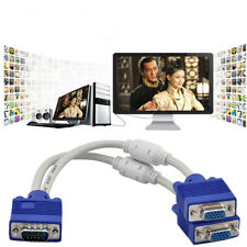 VGA SVGA 1 PC TO 2 MONITOR Male to 2 Dual Female Y Adapter Splitter Cable 15PIN