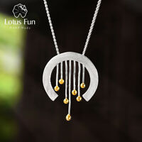 Unique Solid 925 Sterling Silver Fine Jewelry Vintage Curtain Pendant for Women