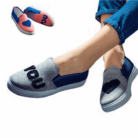 Women Girl Lover Fashion Casual Canvas Shoes Slip On Flats Platform Sneakers