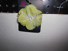 Paparazzi Hair Clip or Pin (new) UNIQUE LIGHTER GREEN W/WHITE LACE & BABBLES