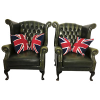 Pair Vintage Handmade Green Leather Chesterfield Balmoral Style Wing Armchairs