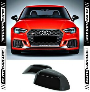 Fits Audi A3 S3 RS3 - Side Mirror Caps Replacement (GLOSS BLACK)(13-20) 8V