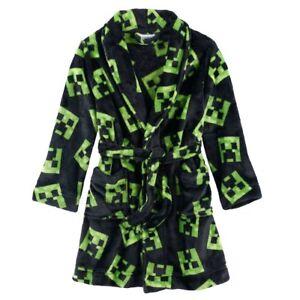 NWT Minecraft Creeper Fleece Robe One Piece Boy Pajamas Boy's Girl's Sz 6