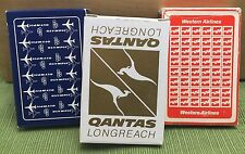 Vintage Olympic Western Qantas Longreach Airlines Playing Cards Lot of 3 Decks