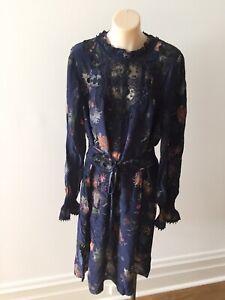 NEW $645 MARC CAIN ruffle/lace Floral appliquéd Chiffon Dress Navy 3 - M 12 14